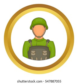 Soldier  icon in golden circle, cartoon style isolated on white background