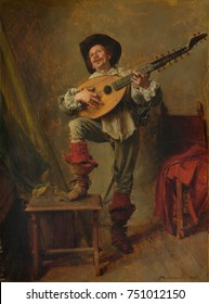 SOLDIER PLAYING THE THEORBO, by Ernest Meissonier, 1865, French painting, oil on wood. The instrument was a variety of lute played in the 17th century. This small painting packs in detail and minutiae