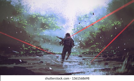 soldier running away from the enemy's attack, digital art style, illustration painting
