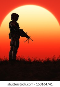 Soldier in the Sunset