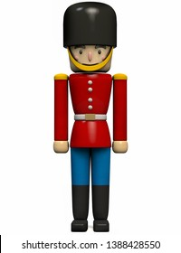 Soldier Toy in Retro Military Red and Blue Uniform. 3D Illustration.