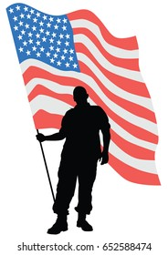 Soldier in uniform with american flag on white background