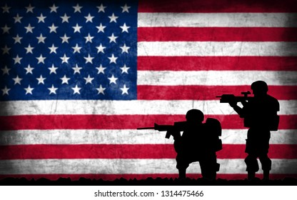 Soldiers with guns silhouette with the national flag on the background - United States of America