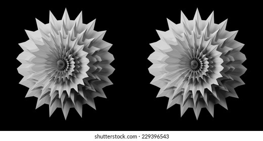 Solid 3D fractal stereo pair. Use these to make a 3D image in the format of your choice (red/cyan anaglyph, animated gif, interlaced etc.)