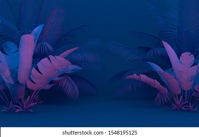 Solid fresh Blue Pink color flat plant background, 3d Rendering
