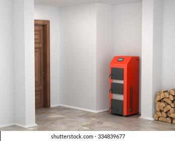 Solid fuel boiler in the basement
