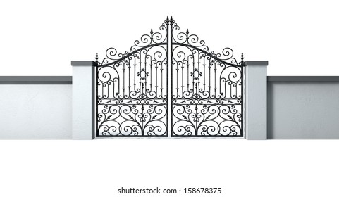 A solid plastered garden wall with an ornate shut metal gate on an isolated white background