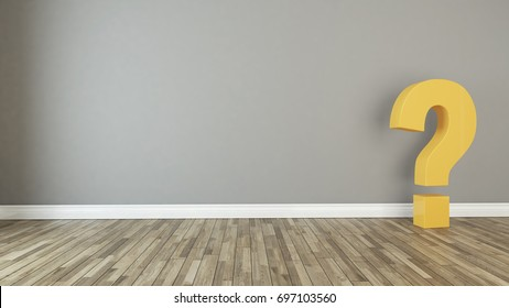 solid questions marks 3d render in the empty room with wall and under spot light 3D rendering