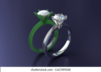 Solitaire diamond engagement ring in white gold and jeweller's wax carved model on deep blue glossy background. 3D rendering