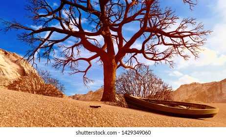 Solitary dead tree in desert 3d illustration