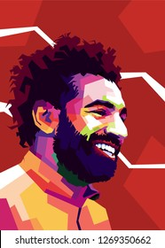 Solo city, Indonesia - December 29th 2018 : mohammed salah is football player from egypt. He is now play in Liverpool FC