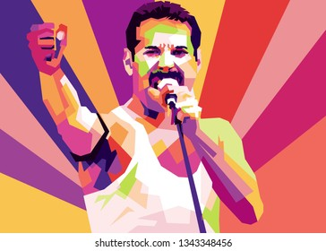 solo city, indonesia - march 20th 2019 : freddie mercury in pop art style with colorfull facet