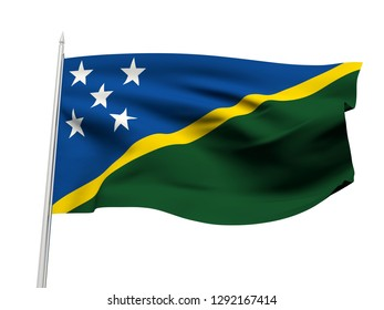 Solomon Islands flag floating in the wind with a White sky background. 3D illustration.