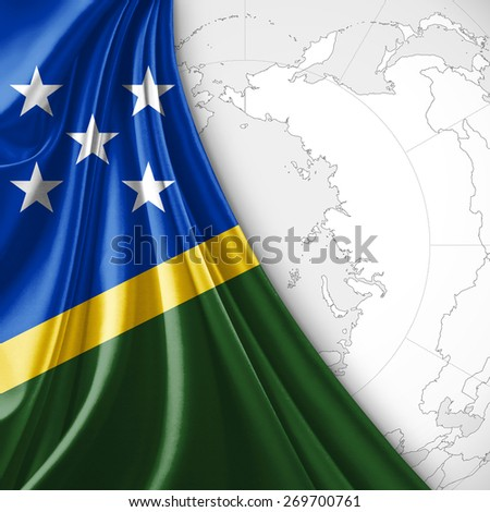 Solomon Islands World Map.Solomon Islands Flag World Map Background Stock Illustration