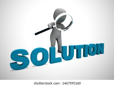 Solution concept icon means resolving and unravelling a problem. Creative and innovative final results - 3d illustration