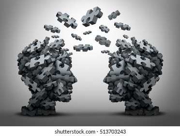 Solution exchange and transfer of ideas concept as a group of jigsaw puzzle pieces shaped as two human heads exchanging answers to challenges as a business problem solving icon as a 3D illustration.