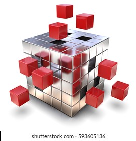 Solution. Metal Cube with some loose Red Cubes. 3D render.