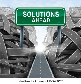 Solutions ahead and business answers concept with a green highway sign as an icon of breaking out from a confusion of tangled roads with a clear strategic path.