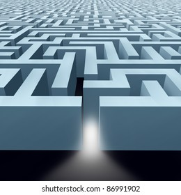 Solutions featuring a maze labyrinth showing the concept of challenges by a pattern of structured walls showing the concept of problem solving using strategy and planning so you do not get lost.