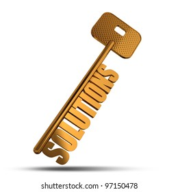Solutions gold key isolated on white  background - Gold key with Solutions text as symbol for success in business - Conceptual image