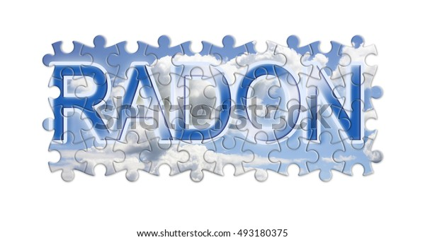 Solving the gas radon - concept image in puzzle shape