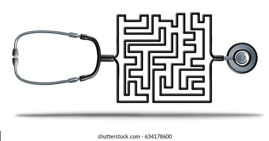 Solving healthcare and health care reform challenges as a doctor stethoscope shaped as a complicated maze as a medical and medicine insurance confusion crisis metaphor as a 3D illustration.