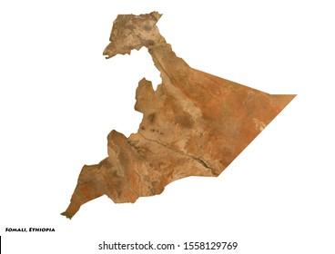 Somali, Ethiopia Geography (3D illustration)