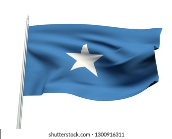 Somalia flag floating in the wind with a White sky background. 3D illustration.