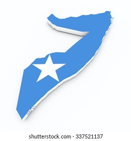 somalia flag on 3d map