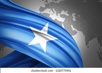 Somalia flag of silk with copyspace for your text or images and world map background-3D illustration