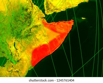 Somalia on digital map with networks. Concept of international travel, communication and technology. 3D illustration. Elements of this image furnished by NASA.