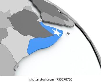 Somalia on globe with flag. 3D illustration.