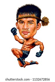 Sombat Banchamek AKA Buakaw Banchamek is a Thai Kuy descent welterweight Muay Thai kickboxer.Illustration,Caricature,Design,July,12,2018