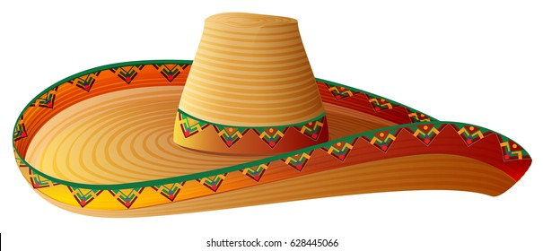 Sombrero Mexican Straw Hat with wide margins. Isolated on white illustration