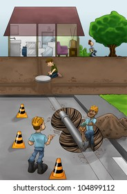 some fixers working in the street ta solve pipe problems