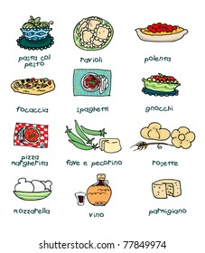 Some of the most famous italian food. Digital
