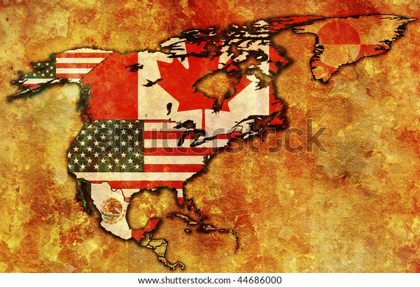 some very old grunge map of NAFTA