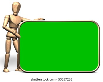 Somebody hold a big green presentation display(green box option)