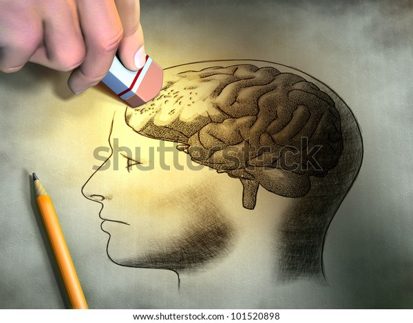 Someone is erasing a drawing of the human brain. Conceptual image relating to dementia and memory loss. Digital illustration.