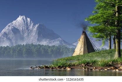 Somewhere in the American West, a lone Indian tee-pee sits by a serene lake. In the distance, a great rocky mountain with a snow covered peak juts into the clear blue sky. 3D Rendering