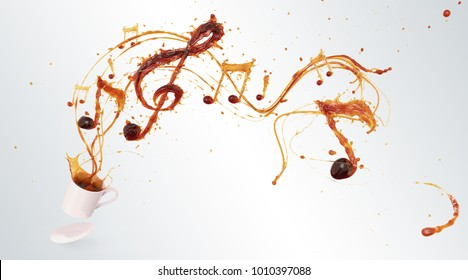 Song of the Coffee splash with the shape of a melody, symbolic or Creative for celebration concept, with Clipping path 3d illustration.