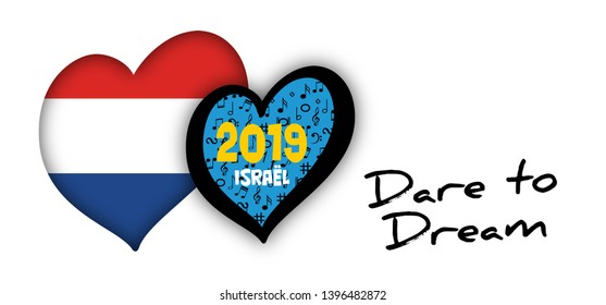 Song festival Euro songfestival Eurovision contest 2019 Israel Israël Netherlands Holland Dutch NL flag Fun Funny Music Musical notes love heart Logo sign signs Grand Final party symbol Dare to dream