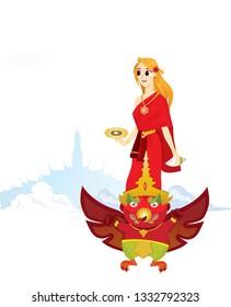 Songkran girl on the sky