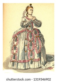 Sophie Arnould, vintage engraved illustration. 12th to 18th century Fashion By Image.