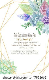 Sophisticated & elegant Succulents and Foliage wedding invitation design with a mix of Crystal Gemstone and stoneillustration Hand paint modern layout for your card party