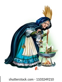 sorceress brews a potion, magic and sorcery, an old witch with a large cauldron, a fairy isolated character on a white background