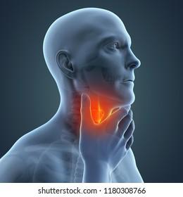 Sore Throat Illustration. 3D rendering