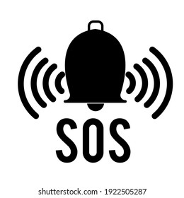 SOS  Icon, warning bell, help illustration