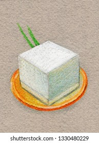 Souffle with greens on an orange plate. Color pencil drawing
