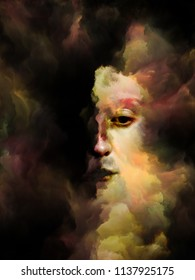 Soul Shadow series. Surreal portrait of female face fused with colored fractal nebula texture on the subject of dreams, nightmares, imagination, mental health, creativity and human mind